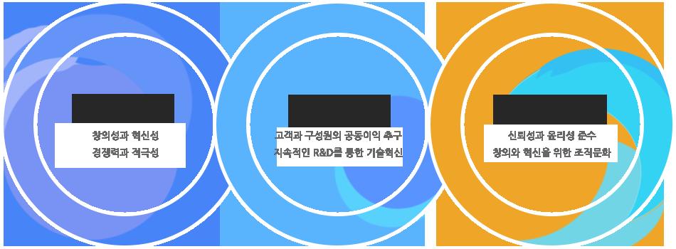 핵심가치 : 창의성과 혁신성, 경영이념 : 고객과 구성원의 공동이익 추구, 지속적인 R&D를 통한 기술혁신, 경영원칙 : 신뢰성과 윤리성 준수, 창조와 혁신을 위한 조직문화